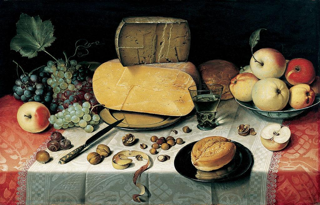 Floris van Dyke - Stilleben mit Obst, Käse und Nüssen (1613)